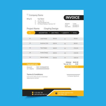 Minimal Yellow and Black Invoice Template Design.