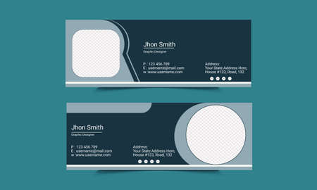 Mail signature Template Design.Office business visit cards for webmail user interface with place.