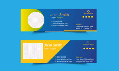 Creative Mail signature Template Design.Office business visit cards for webmail user interface with place.Web business profile individual illustration.