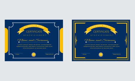 Blue and Golden Certificate Template Design.Diploma Concept layout.Modern Official Certificate 矢量图像