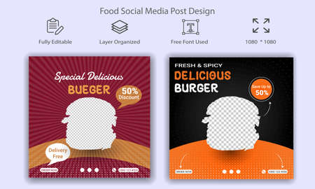 Food & Restaurant Social Media Web Banner Design Template. Restaurant Business Food Campain.