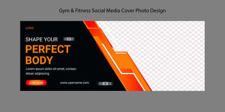 Health And Fitness Social Media Cover photo Template Design. Gym fitness Cover Photo Design for social media web banner. Editable sports yoga digital marketing web banner design layout.