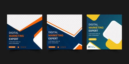 Digital Business Marketing Web Banner For Social Media Post Design. Online Marketing Agency digital poster Template. Social media Add Banner. Editable Timeline post Design For Modern Business