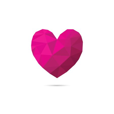 Low poly heart shape with pink color shades.