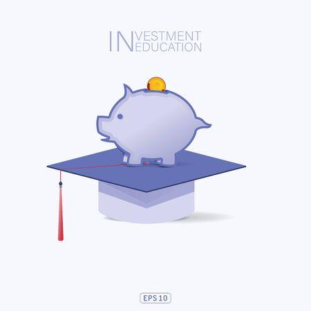 Savings for higher education concept. Student cap. Money savings for study. Vector illustration flat design. University. Graduate. study lone. vector design. Stock Illustratie