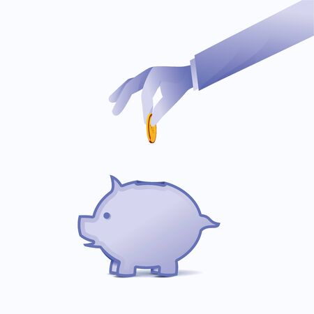 Money saving in piggy bank. Blue background Concept. Concept of savings. Money collected for charity. Vector illustration flat design. Graphic design.