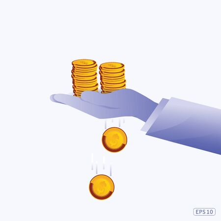 Collect gold coin in hand for saving. Blue background. Money collected for charity. Concept of savings. Vector illustration flat design. Graphic design.