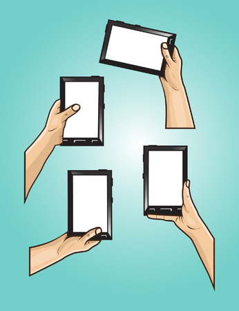set of hands holds black mini tablet with white screen .