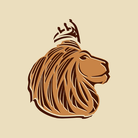 lion head illustration with side view ,bold lines and a crown on its head.