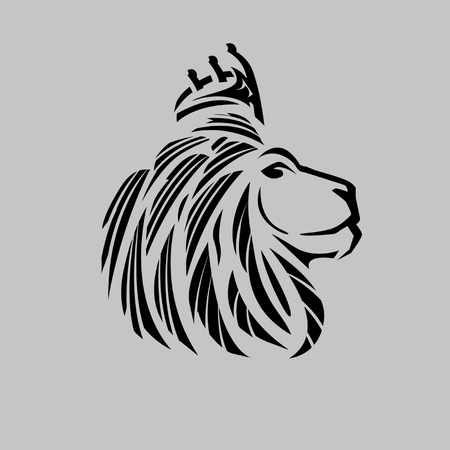 |Lion head illustration with side view ,bold lines and a crown on its head just outlines. Illustration