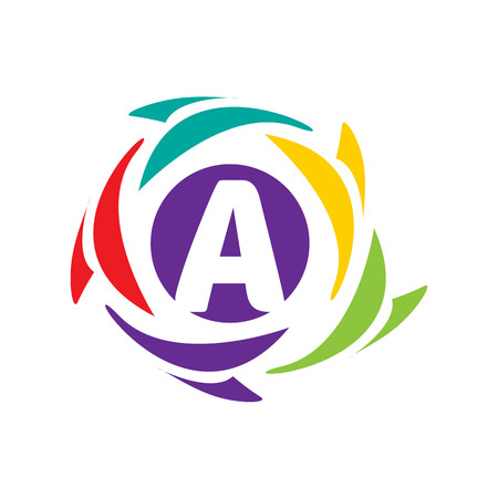 letter A logo within an colorful circle isolated on white background.
