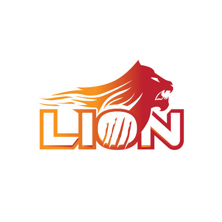 angry lion logo open his mouth with flames and scratch on the letter O. isolated on white background. Zdjęcie Seryjne - 83166991