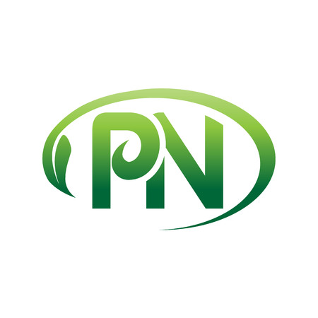 letters PN within an outline of oval with a leaf, logo design, isolated on white background.