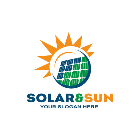 solar panel within a circle with a sun, logo design, isolated on white background. Иллюстрация