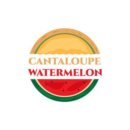 Halb kantalupe und halb wassermelone logo, isoliert auf weißem hintergrund. Standard-Bild - 83167110