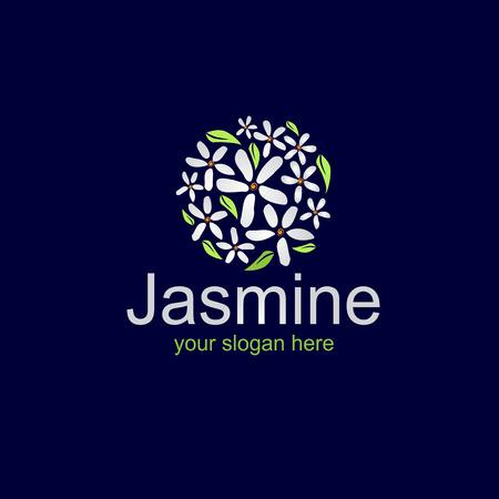 jasmine flowers forms a circle,logo design,dark background.