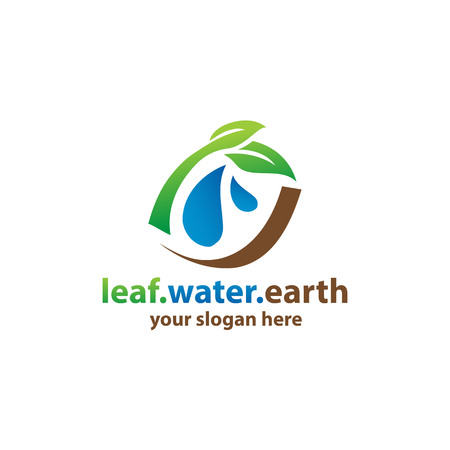 leaves with water drops and curved brown lines, logo design, isolated on white background. Illustration