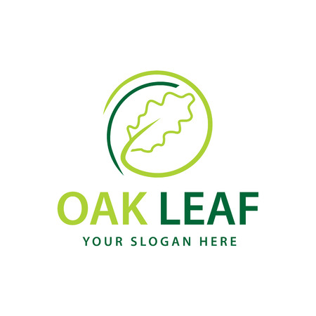 abstract oak leaf within a circle, logo design, isolated on white background. 向量圖像