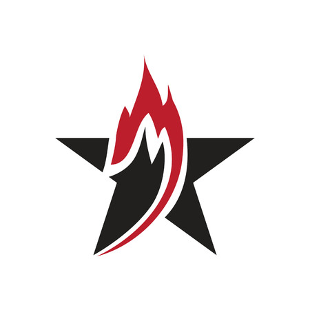 flame within a star, logo design, isolated on white background.