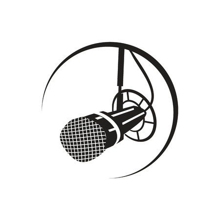 modern radio mic within an outline, icon design, isolated on white background. Иллюстрация
