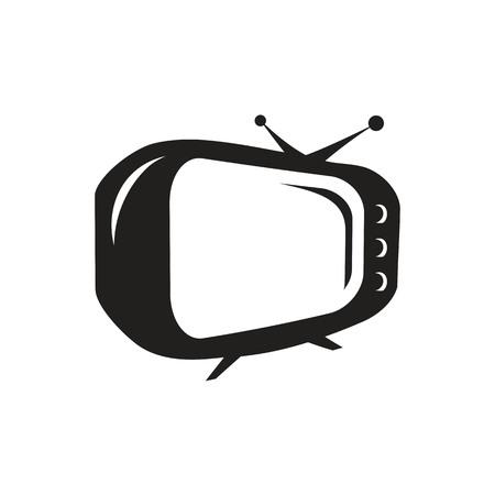오래 된 TV 아이콘, 흰색 배경에 고립. 일러스트