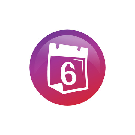 number 6 on calendar within a circle, icon design, isolated on white background.
