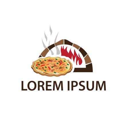 volle Pizza kommen aus dem Ofen mit Flammen, Illustration, isoliert auf weißem Hintergrund.
