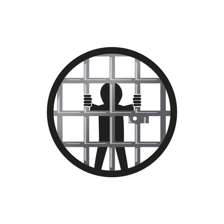 prisoner inside the jail within an outline of a circle , illustration design, isolated on white background