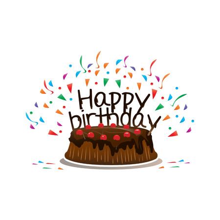 chocolate cake with phrase happy birthday , and colorful flying confetti, isolated on white background Illustration