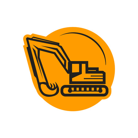 outlines of excavator within a circle, icon design, isolated on white background.
