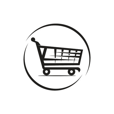 modern shopping cart within an outlines of circle, icon design, isolated on white background.