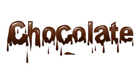 chocolate word covered with melted chocolates, illustration design, isolated on white background Çizim