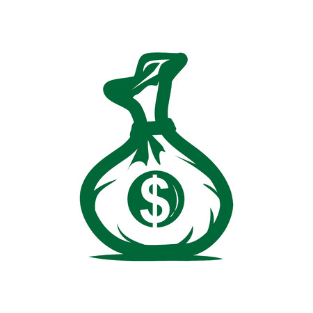 outlines of money bag with dollar sign on it within a circle, icon design, isolated on white background. Иллюстрация