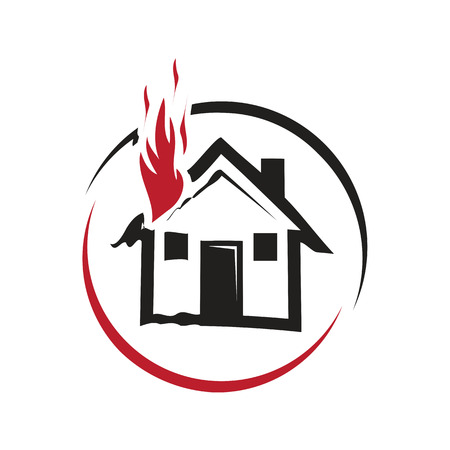 fire inside the house, a house burns, icon design, isolated on white background.