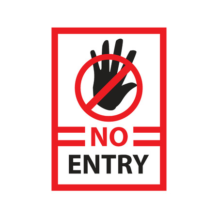 no entry with black hand within rectangle, sign design, isolated on white background. Иллюстрация