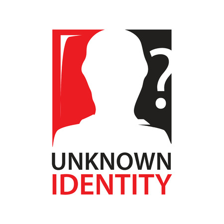 unknown identity sign with silhouette of a person within rectangle with question mark Иллюстрация