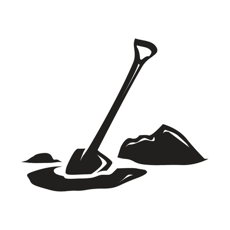 silhouette of shovel digging in the lawn, illustration design, isolated on white background.