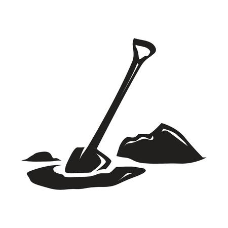 silhouet van schop graven in het gazon, illustratie ontwerp, geïsoleerd op een witte achtergrond.
