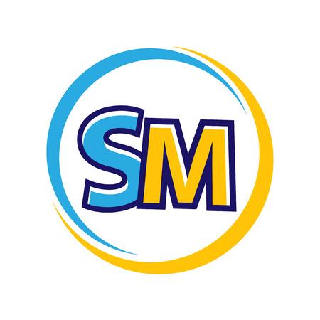 speelse brief SM binnen contouren van cirkels, geïsoleerd op een witte achtergrond