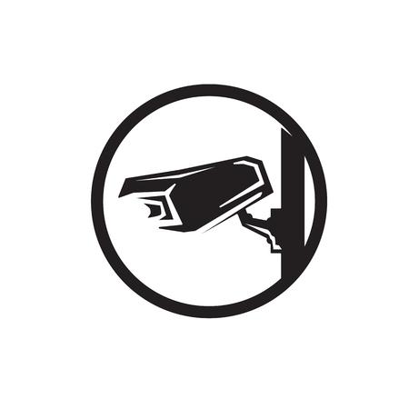 cctv camera within a circle, icon design, isolated on white background. Illustration
