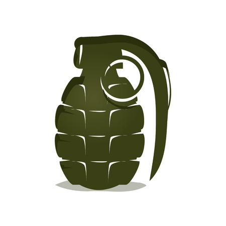 bold hand grenade illustration, isolated on white background. Illustration