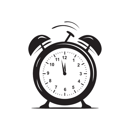 simple alarm clock, icon design,  isolated on white background.