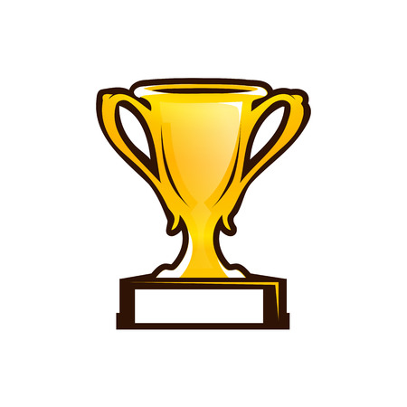 gold prize cup illustration, icon design, isolated on white background.