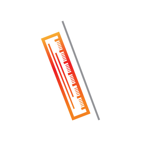 simple ruler icon with a line, isolated on white background.
