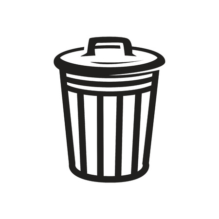 outlines of trash can illustration,icon design, isolated on white background.