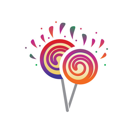 playful lollipops illustration, icon design, isolated on white background.