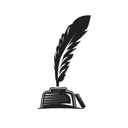 feather and ink pot illustration, icon design, isolated on white background. Illustration