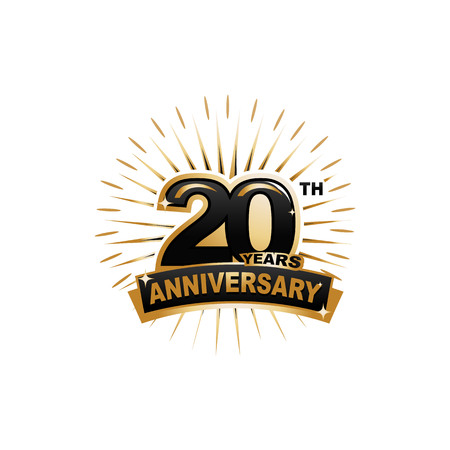 20 years old: twenty years anniversary, gold badge, illustration design, isolated on white background.