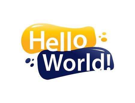 hello world sign, icon design, isolated on white background. Çizim