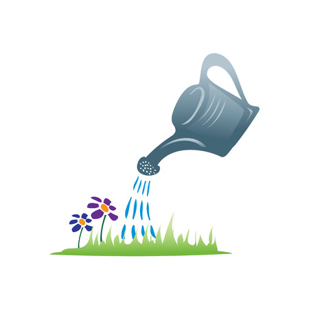 watering can with drops of water and lawn, icon design, isolated on white background.
